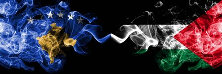 Kosovo vs Palestine, Palestinian smoky mystic flags placed side by side. Thick colored silky smokes combination of Kosovo and Palestine, Palestinian flag