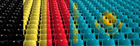 Belgium, Belgian, Kazakhstan, Kazakhstani stadium seats concept. European football qualifications games.