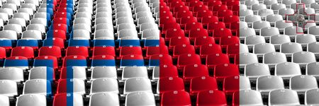 Faroe Islands, Malta, Maltese, flip stadium seats concept. European football qualifications games. Archivio Fotografico