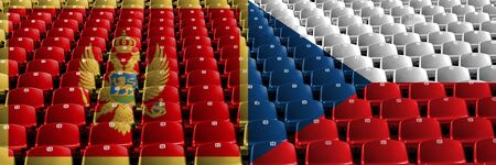 Montenegro, Czech Republic stadium seats concept. European football qualifications games.