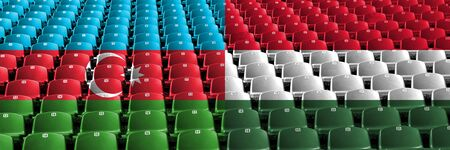 Azerbaijan, Hungary, Hungarian stadium seats concept. European football qualifications games.