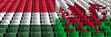 Hungary, Hungarian, Wales, Welsh, flip stadium seats concept. European football qualifications games. Banco de Imagens