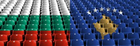 Bulgaria, Kosovo stadium seats concept. European football qualifications games.