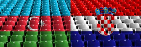Azerbaijan, Croatia, Croatian stadium seats concept. European football qualifications games. Archivio Fotografico