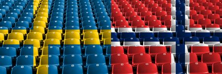 Sweden, Swedish, Norway, Norwegian, flip stadium seats concept. European football qualifications games.