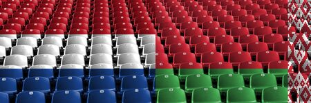 Netherlands, Belarus, flip stadium seats concept. European football qualifications games. Standard-Bild - 127283150