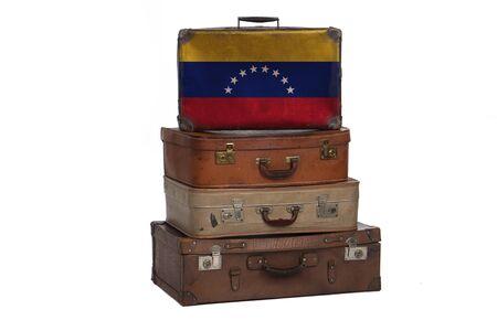 Venezuela, Venezuelan travel concept. Group of vintage suitcases isolated on white background