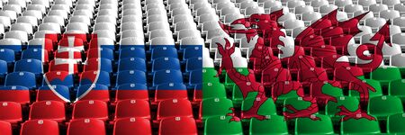 Slovakia, Slovakian, Wales, Welsh stadium seats concept. European football qualifications games.