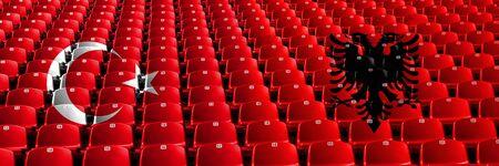 Turkey, Turkish, Albania, Albanian stadium seats concept. European football qualifications games. 免版税图像