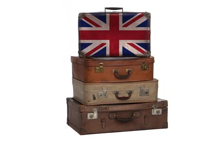 United Kingdom, British travel concept. Group of vintage suitcases isolated on white background Banque d'images