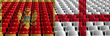 Montenegro, England stadium seats concept. European football qualifications games. Archivio Fotografico