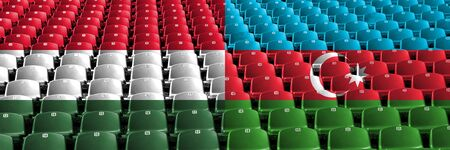 Hungary, Hungarian, Azerbaijan stadium seats concept. European football qualifications games.