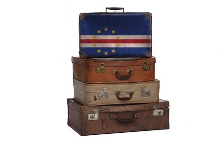 Cape Verde travel concept. Group of vintage suitcases isolated on white background