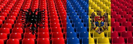 Albania, Albanian, Moldova, Moldovan stadium seats concept. European football qualifications games.