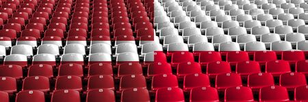 Latvia, Latvian, Poland, Polish stadium seats concept. European football qualifications games. Archivio Fotografico