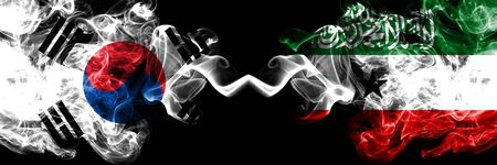 South Korea vs Somaliland smoky mystic flags placed side by side. Thick colored silky abstract smoke flags of South Korean and Somaliland