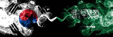 South Korea vs Saudi Arabia, Arabian smoky mystic flags placed side by side. Thick colored silky abstract smoke flags of South Korean and Saudi Arabia, Arabian