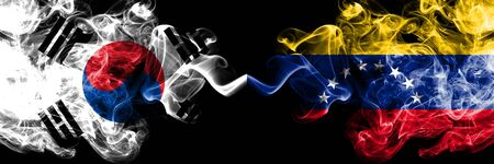 South Korea vs Venezuela, Venezuelan smoky mystic flags placed side by side. Thick colored silky abstract smoke flags of South Korean and Venezuela, Venezuelan