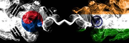 South Korea vs India, Indian smoky mystic flags placed side by side. Thick colored silky abstract smoke flags of South Korean and India, Indian