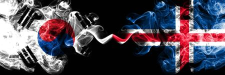 South Korea vs Iceland, Icelandic smoky mystic flags placed side by side. Thick colored silky abstract smoke flags of South Korean and Iceland, Icelandic