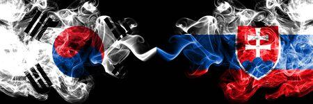 South Korea vs Slovakia, Slovakian smoky mystic flags placed side by side. Thick colored silky abstract smoke flags of South Korean and Slovakia, Slovakian