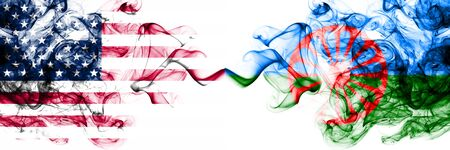 United States of America vs Gipsy, Roman smoky mystic flags placed side by side. Thick colored silky abstract smokes banner of America and Gipsy, Roman