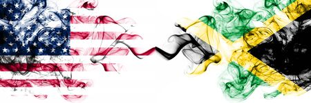 United States of America vs Jamaica, Jamaican smoky mystic flags placed side by side. Thick colored silky abstract smokes banner of America and Jamaica, Jamaican