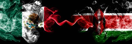 Mexico vs Kenya, Kenyan smoky mystic flags placed side by side. Thick colored silky abstract smokes banner of Mexican and Kenya, Kenyan