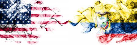 United States of America vs Ecuador, Ecuadorian smoky mystic flags placed side by side. Thick colored silky abstract smokes banner of America and Ecuador, Ecuadorian
