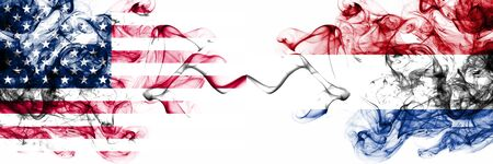 United States of America vs Netherlands, Dutch smoky mystic flags placed side by side. Thick colored silky abstract smokes banner of America and Netherlands, Dutch