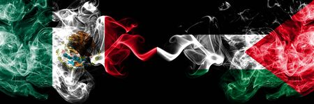 Mexico vs Palestine, Palestinian smoky mystic flags placed side by side. Thick colored silky abstract smokes banner of Mexican and Palestine, Palestinian