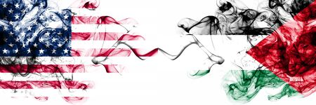 United States of America vs Palestine, Palestinian smoky mystic flags placed side by side. Thick colored silky abstract smokes banner of America and Palestine, Palestinian