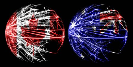Abstract Canada, Canadian, Australia, Australian sparkling flags, sport ball game concept isolated on black background