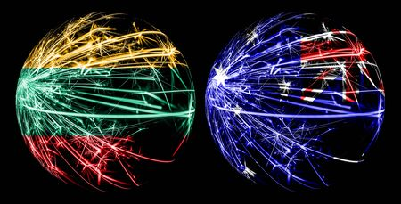 Abstract Lithuania, Lithuanian, Australia, Australian sparkling flags, sport ball game concept isolated on black background Stock Photo