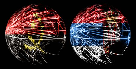 Abstract Angola, Angolan, Serbia, Serbian sparkling flags, sport ball game concept isolated on black background