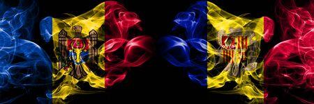 La Moldavie, la Moldavie, l'Andorre, la compétition andorrane d'épais drapeaux enfumés colorés. Matchs de qualification de football européen Banque d'images