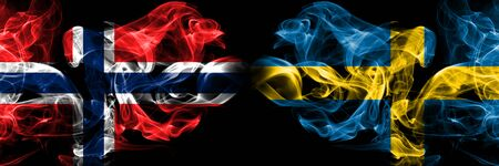 Norway, Norwegian, Sweden, Swedish, flip competition thick colorful smoky flags. European football qualifications games