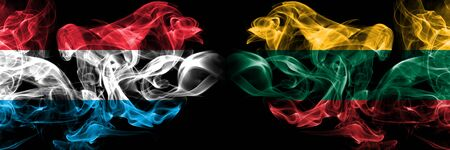 Luxembourg, Lithuania competition thick colorful smoky flags. European football qualifications games