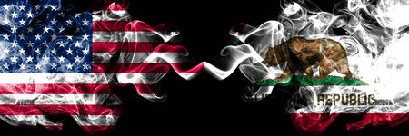 United States of America, USA vs California state background abstract concept peace smokes flags.