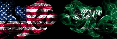 United States of America, USA vs Saudi Arabia, Arabian background abstract concept peace smokes flags. Stock Photo