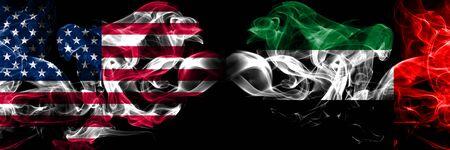 United States of America, USA vs United Arab Emirates, Emirati background abstract concept peace smokes flags. 版權商用圖片