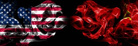 United States of America, USA vs USSR, Communist background abstract concept peace smokes flags. Stock Photo
