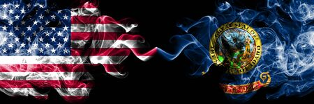 United States of America, USA vs Idaho state background abstract concept peace smokes flags.