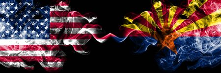 United States of America, USA vs Arizona state background abstract concept peace smokes flags. Imagens