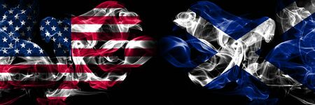 United States of America, USA vs Scotland, Scottish background abstract concept peace smokes flags.