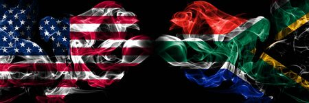 United States of America, USA vs South Africa, African background abstract concept peace smokes flags.