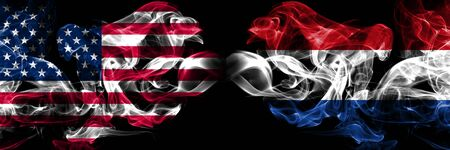 United States of America, USA vs Netherlands, Dutch background abstract concept peace smokes flags.