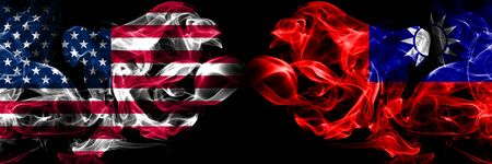 United States of America, USA vs Taiwan, Taiwanese background abstract concept peace smokes flags. Reklamní fotografie - 129694800