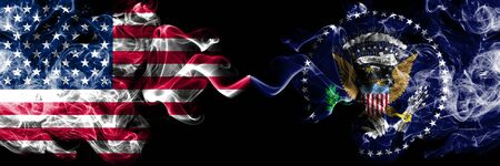 United States of America, USA vs President of the United States state background abstract concept peace smokes flags.