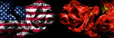 United States of America, USA vs China, Chinese background abstract concept peace smokes flags. Stock Photo